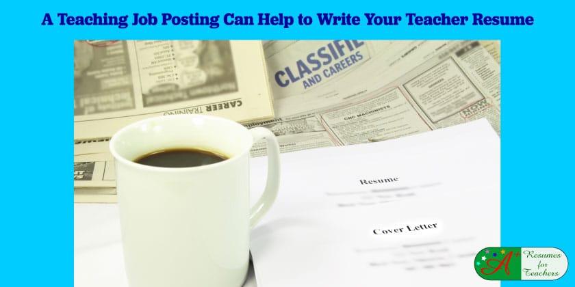 A Teaching Job Posting Can Help to Write Your Teacher Resume