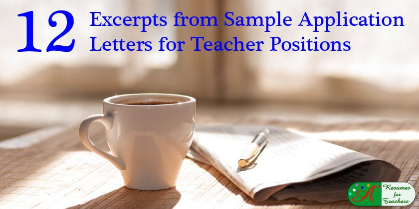 12 Excerpts From Sample Application Letters for Teacher ...