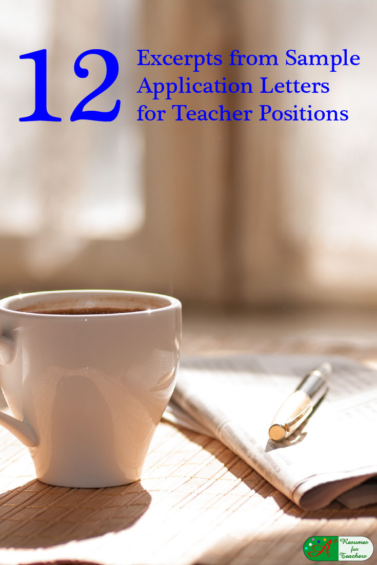 12 excerpts from sample application letters for teacher