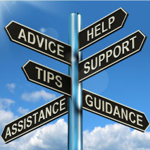Sign post saying advice help support and tips