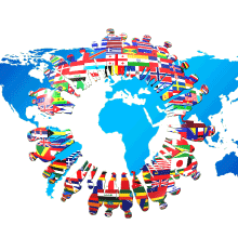 Continents with silhouettes of people with flags on them