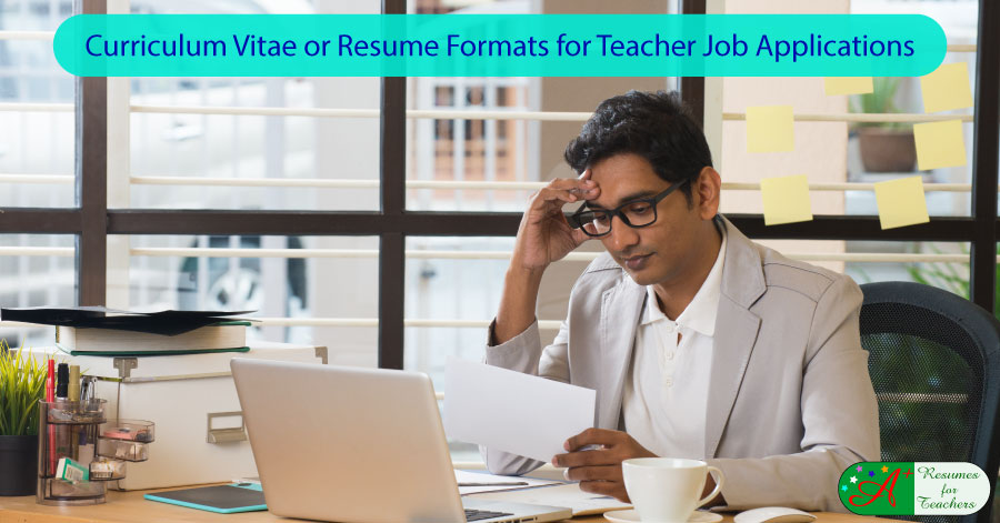 Curriculum Vitae CV or Resume Formats for Teacher Job Applications