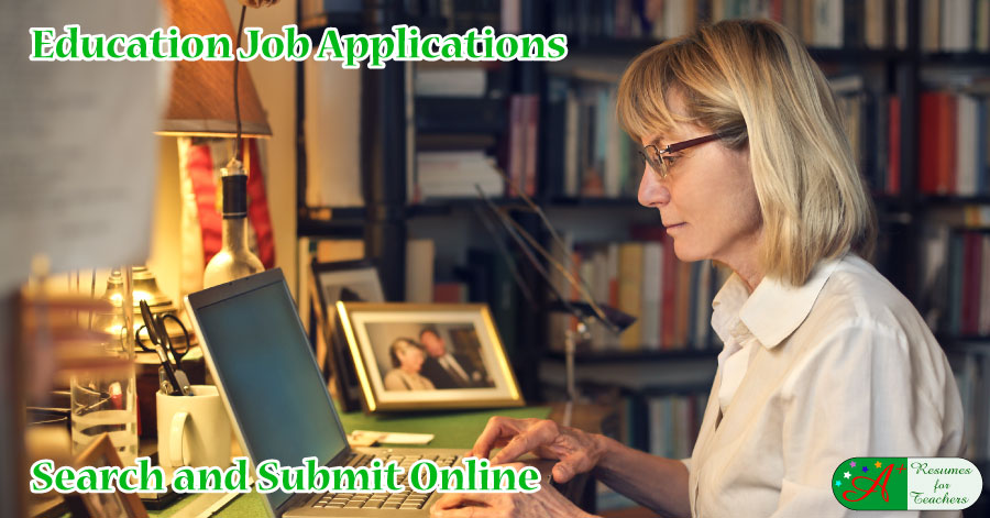 Woman Searching and Submitting Education Job Applications Online