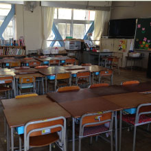 Empty classroom waiting for a teacher and students