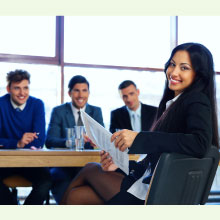 Teacher at interview looking confident