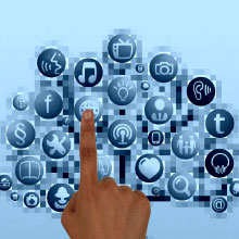 Finger pointing to social networking icons