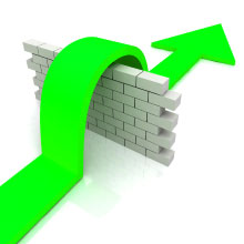 Green arrow over wall meaning to overcome interview obstacles