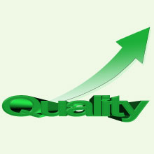 The word quality with an arrow fising