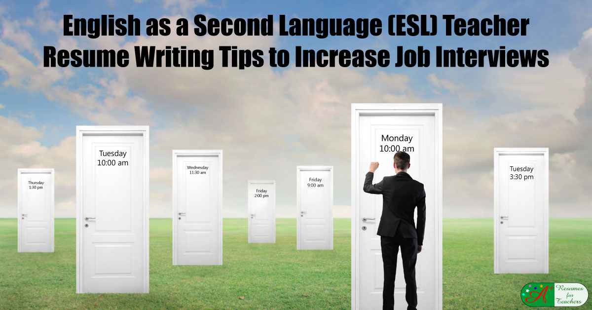 english as a second language  esl  teacher resume writing tips