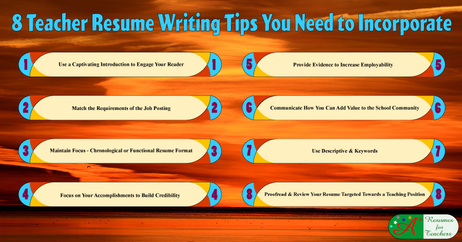 8 Teacher Resume Writing Tips  Tips For Resume Writing