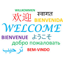 Picture showing welcome in several languages including English