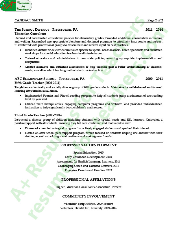 education consultant resume sample page 2